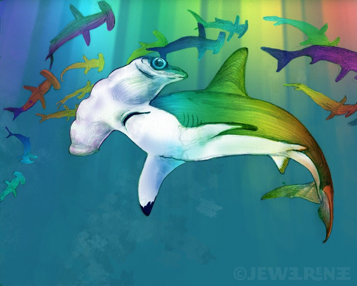 "Shark Art Print - LISAFRANK MEETS JAWS - Rainbow Aquatic Art - watercolor inspired 8 x10"" Print"