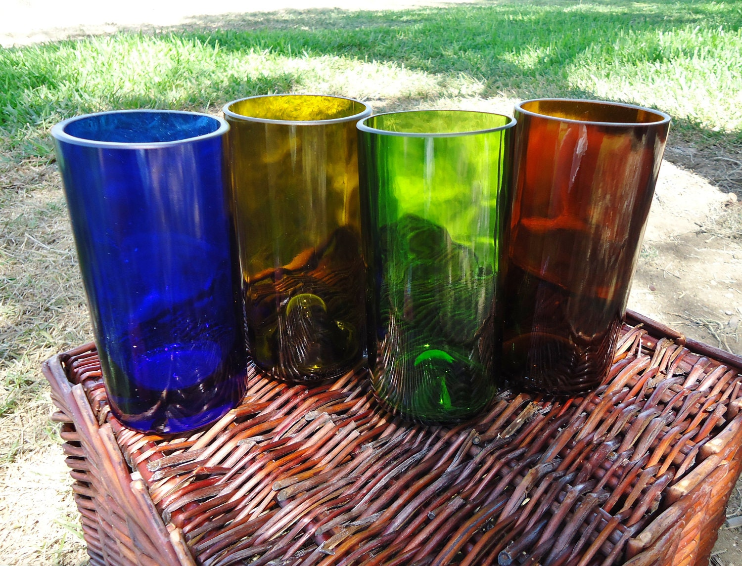 Wine Bottle and Liquor Bottle Glasses Colorful Set of 4