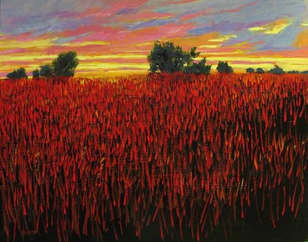 Red Grass at Sunset 24x30 Commissioned Painting