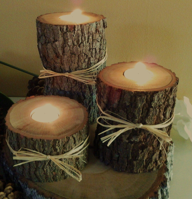 Etsy item spotlight treasury item set of 3 oak tree - Tree trunk table decorations ...