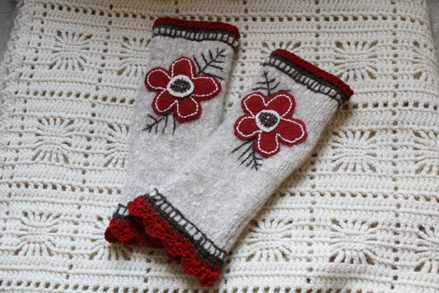 Hand Embroidered Fingerless Gloves
