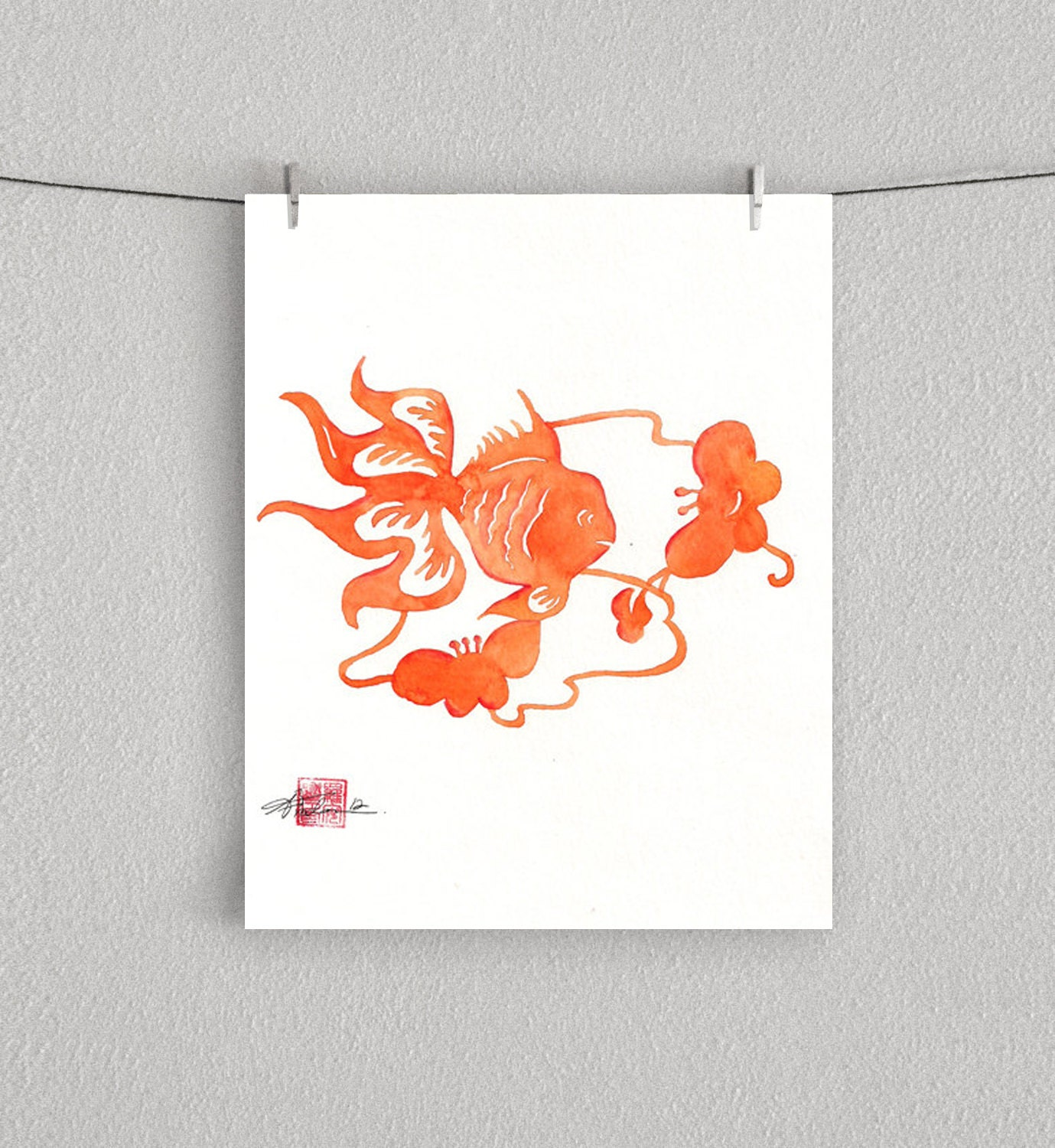 "ORANGE GOLDFISH, Chinese Paper cut Goldfish with Butterfly Flowers, Watercolor - 8"" x 10"" Print - AfrochaDesign"