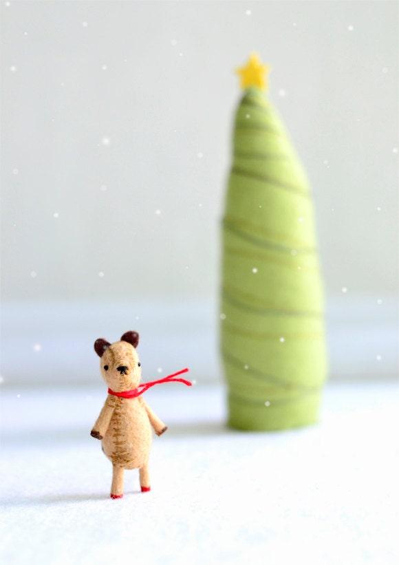 honey bear - wool felt miniature bear by royalmint