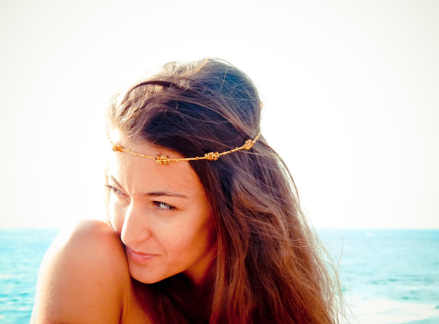 Boho Chic Mustard gold brown beaded crochet headband strand. Versatile necklace / bracelet / anklet / hair band. tbteam spteam