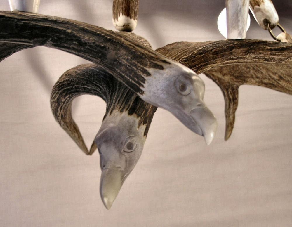 Hand carved  moose Chandelier