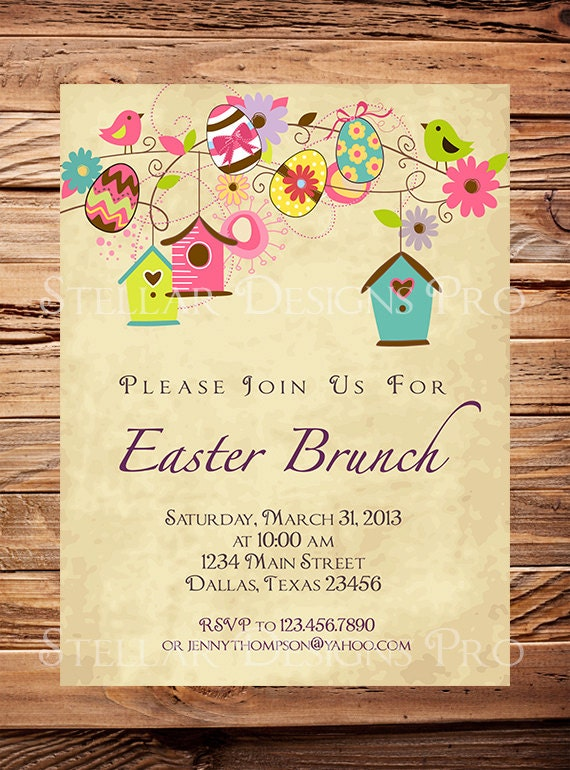 Easter, Easter Brunch greeting card, Easter, Birdhouses Easter Invitation, Easter Card, Easter Brunch Invitation Red (Item2010) - StellarDesignsPro