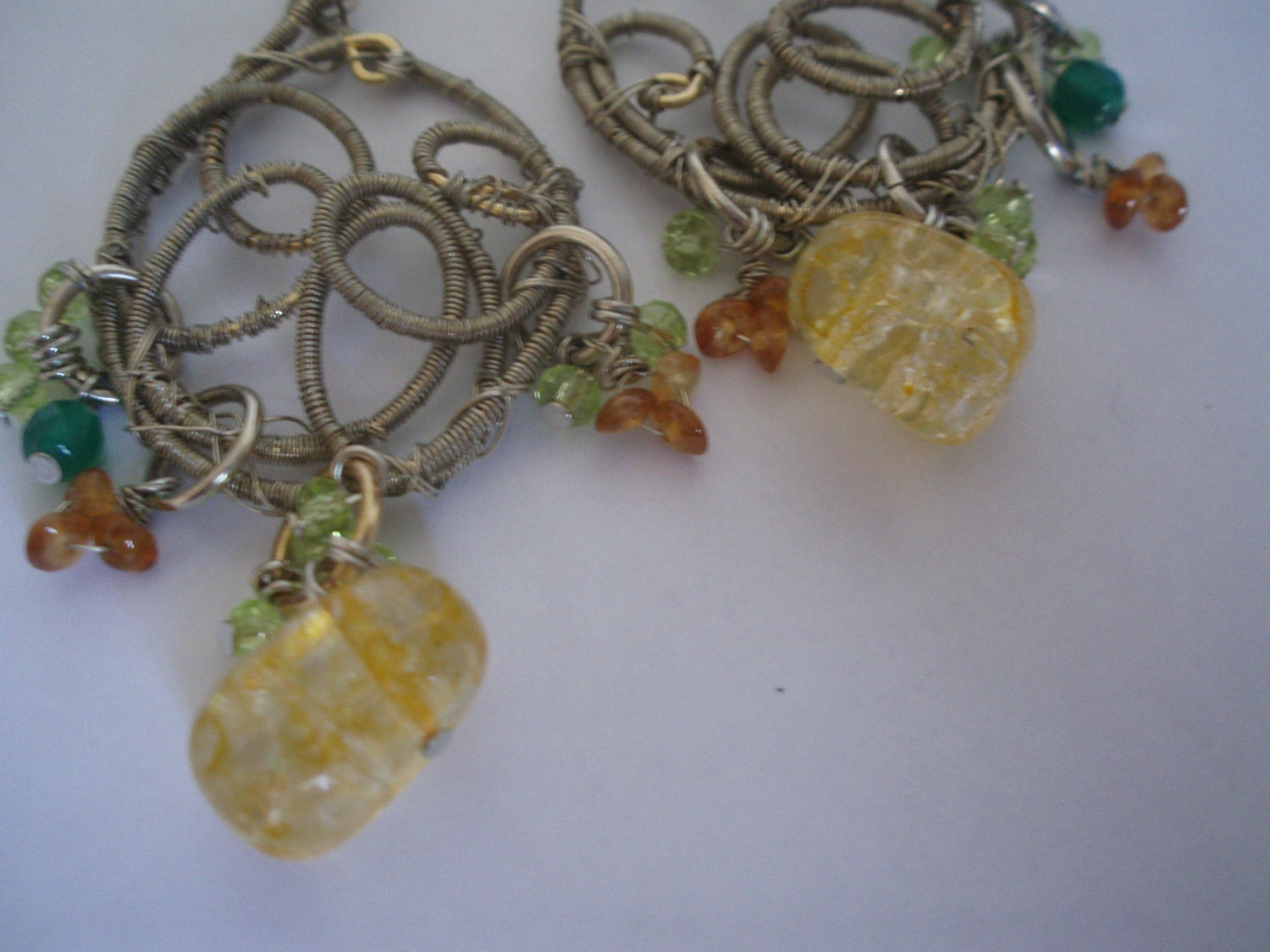 Wire wrapped chandelier earrings handmade yellow citrine and swarovski crystals