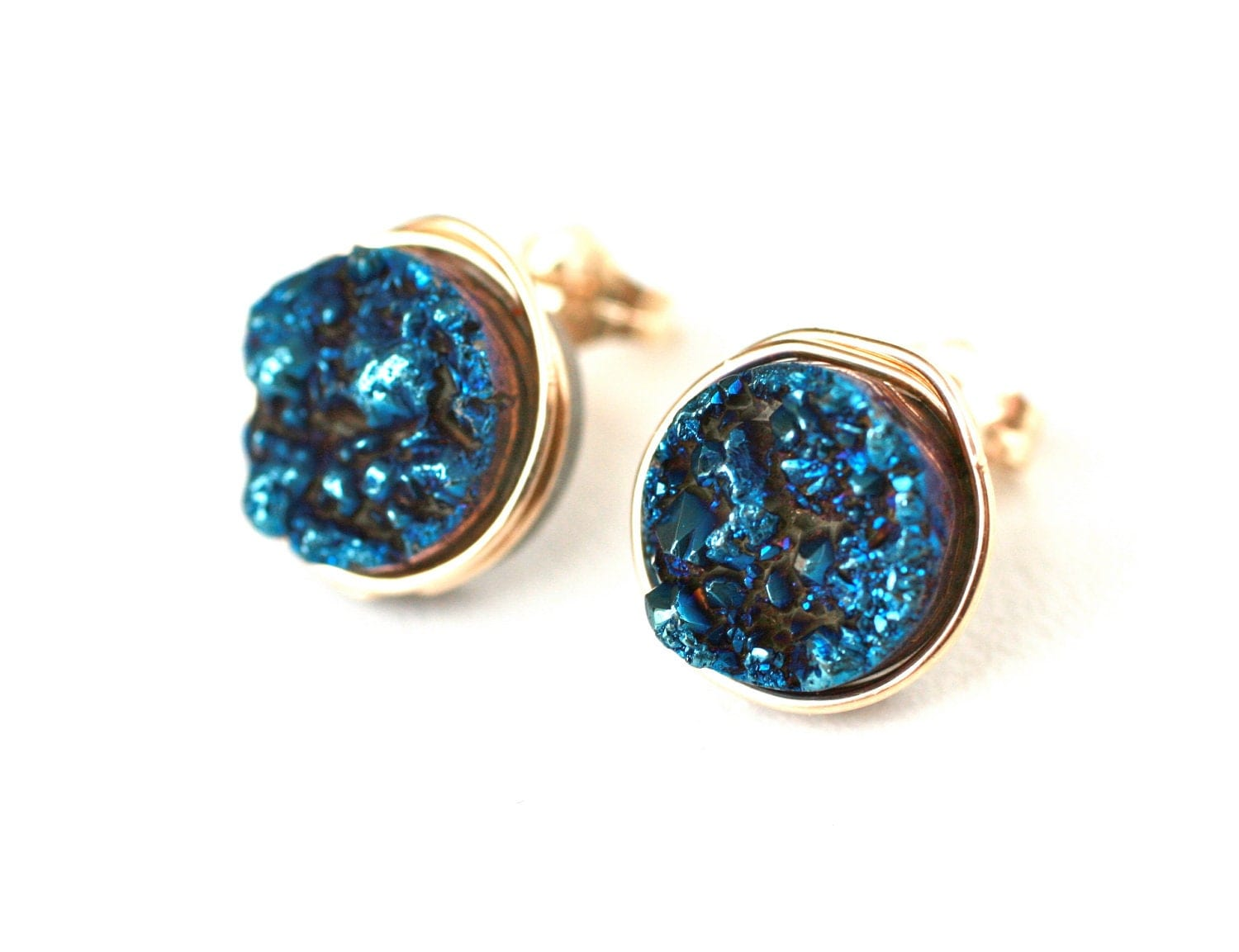 Blue Titanium Druzy Quartz Stud Earrings Wire Wrapped Post 14k Gold Filled - Gift for Her, Under 25 dollars
