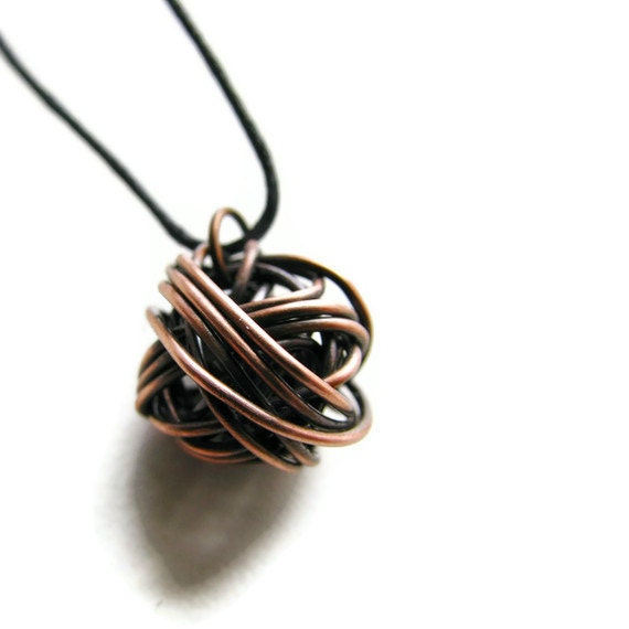 Modern Wire Ball Necklace -Copper Chaos LAST ONE - heversonart