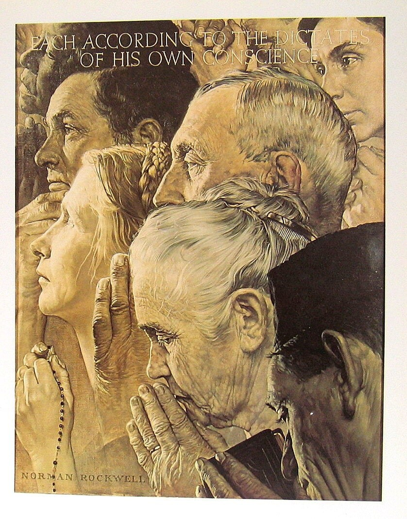 "Norman Rockwell Print - Vintage 1978 Book Plate ""Freedom of Worship"" - mysunshinevintage"