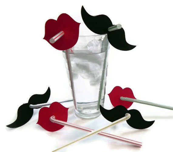 Mustache & Red Lip Straw Combo (20) - Die Cut Mustaches (10) and Lips (10) - photo prop party decoration punch cutout card stock