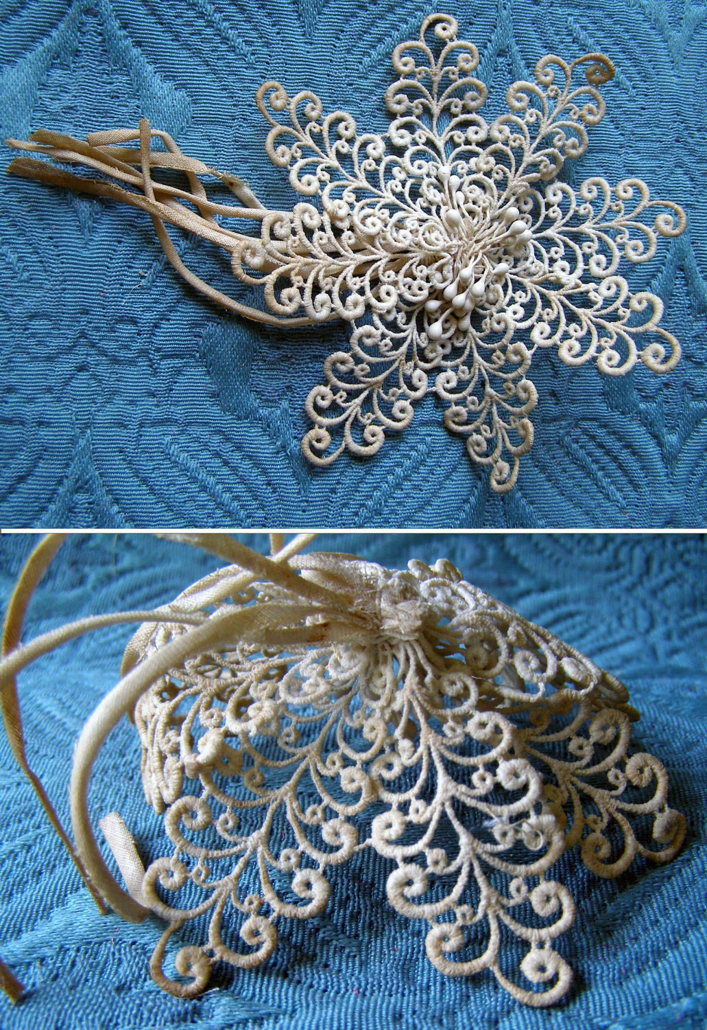 Stuning FRENCH MILLINERY HANDMADE Victorian Lace Flower ooak great for brooch or pin