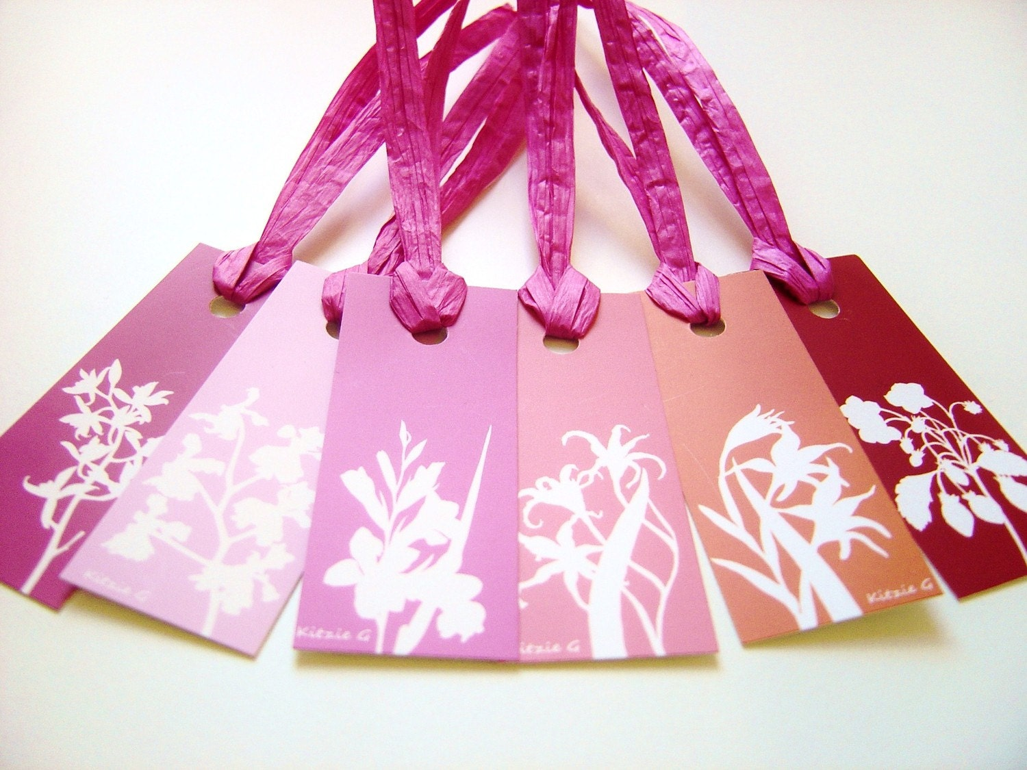 Gift Tags - Set of 12 in Pink, Red and Orange Botanical Floral Papercut Designs