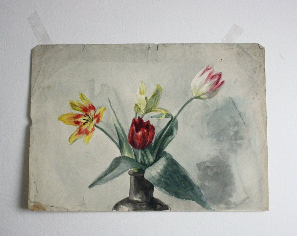 Vintage Tulips Watercolor - shavingkitsuppplies