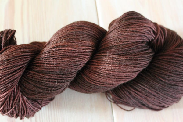Chocolate Brown BFL Nylon Sock Yarn - Moon Stone Farm- Black Friday Cyber Monday - MoonStoneFarmYarn