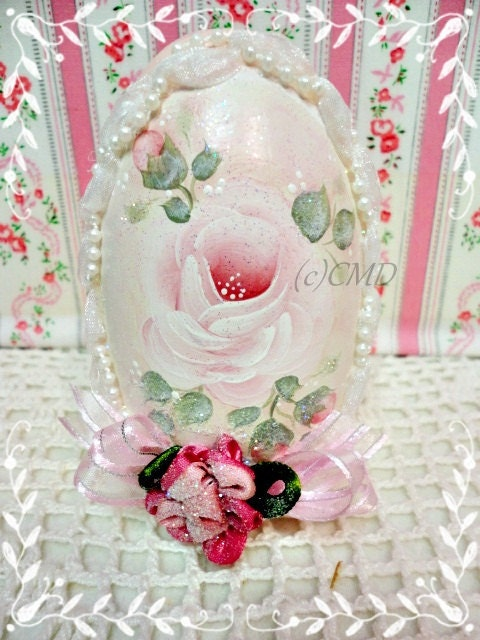 Pink Goose Egg, Hand Painted Rose and Rosebud Charm, CSST, ECS