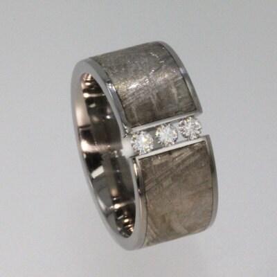 Meteorite Wedding Bands on Man Gagement Meteorite Ring   Tension Set With 3 Moissanite Stones