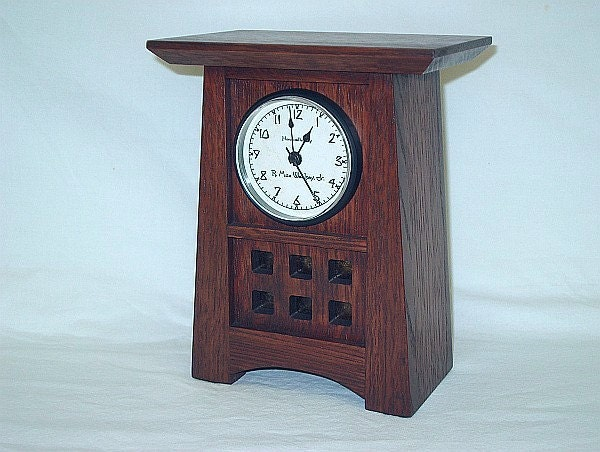 Quarter Sawn White Oak Mission Style Arts and Crafts Mantel / Shelf Clock