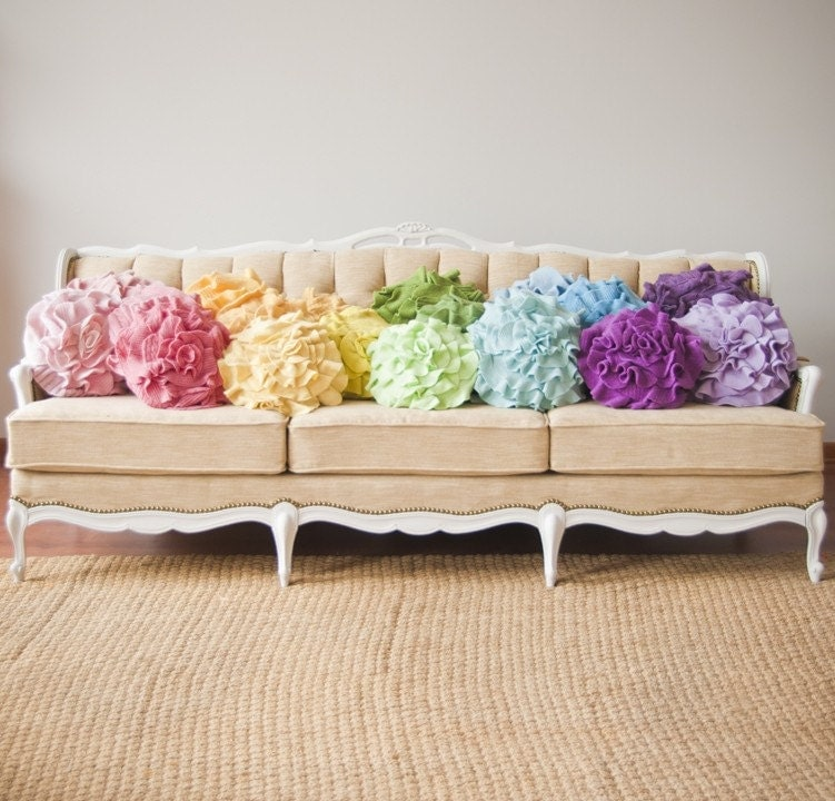 Custom color ruffle rose pillow SMALL - as seen on MSN.com GLO