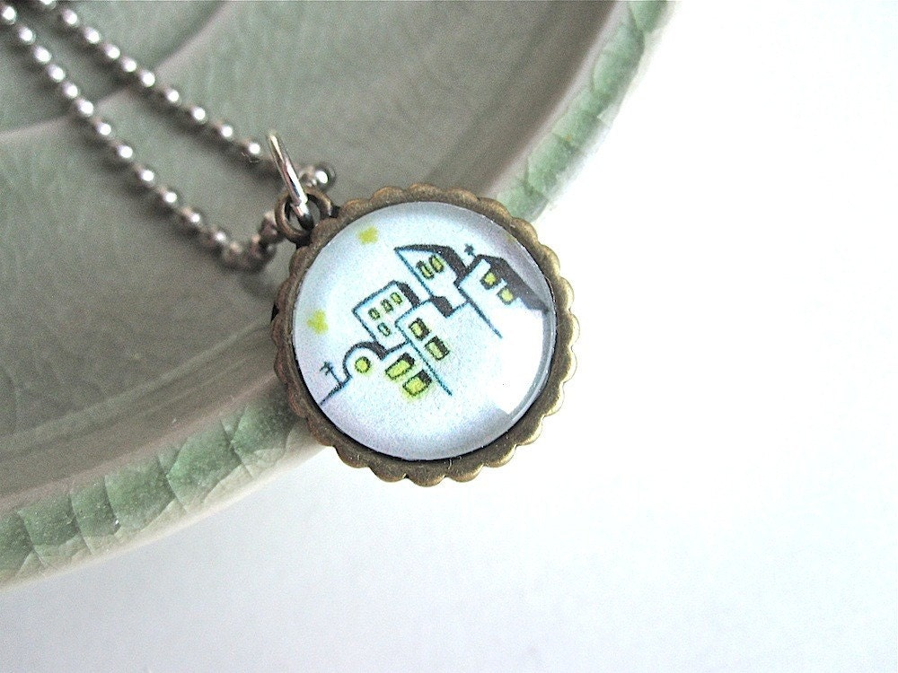 cityscape and stars on gray sky pendant necklace - modflo