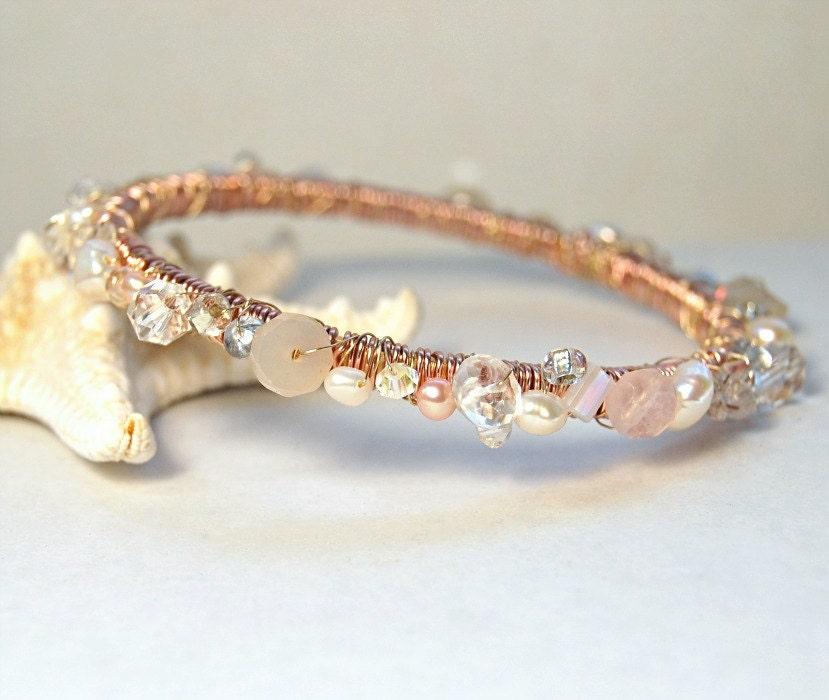 Rose Gold Wrapped Bangle Artisan Bracelet