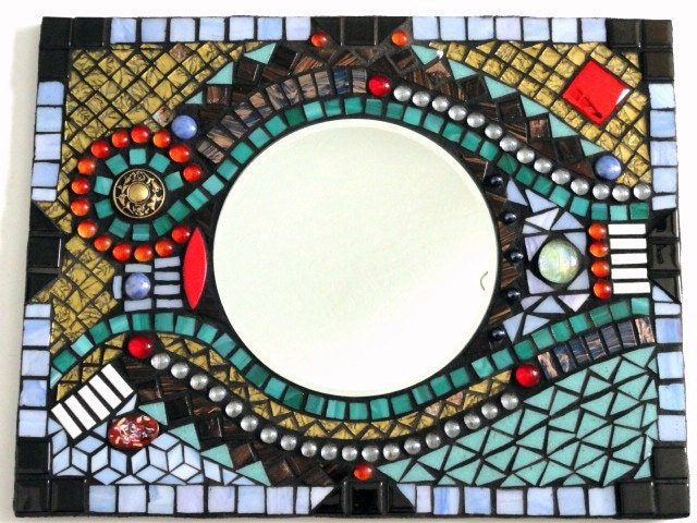Colorful Abstract Mosaic Mirror Rectangular Wall Hanging