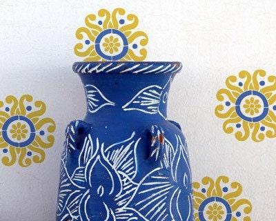 Floral Wall Motif Stencil Sun Flower Moroccan Stencil for DIY Wall Decor