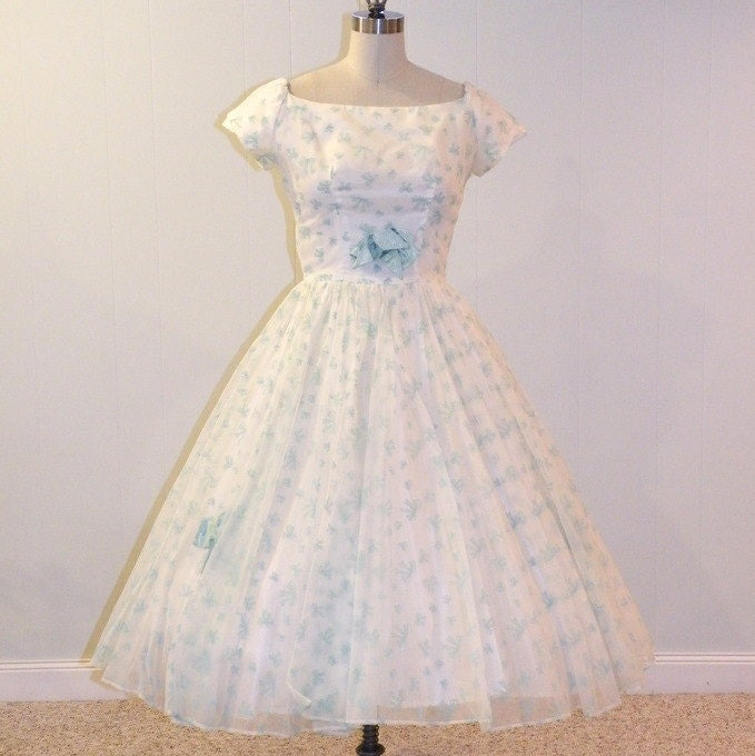 Vintage 50s Party Dress Flocked Velvet Bows Organza Tulle Formal Prom