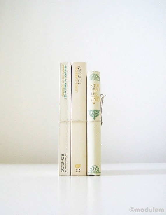 French Cream and Asparagus Instant Book Collection, vintage books, gilded, book bundle, green, ivory, beige, interior design - modulem