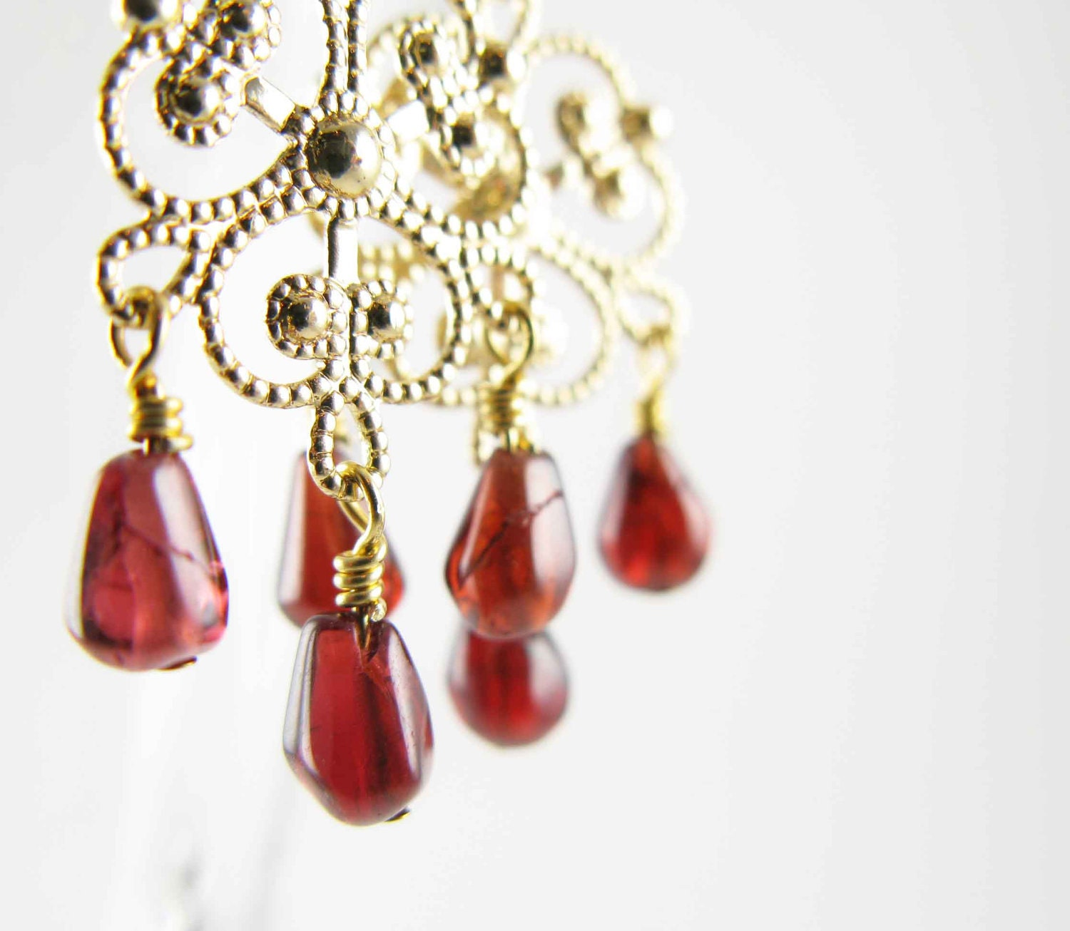 Hand assembled Chandelier earrings - gold plated filigree with garnet drops - Free shipping - mejjewelry