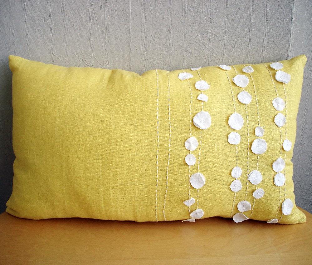 Sukan / Yellow, White Linen Pillow Covers - Lumbar Pillows - Yellow Linen Pillow - 12x20 pillow