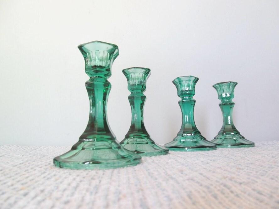 Green Glass Candle Candlestick Holders Wedding Decor Centerpiece Emerald Woodland Elegant - ClassicRetro