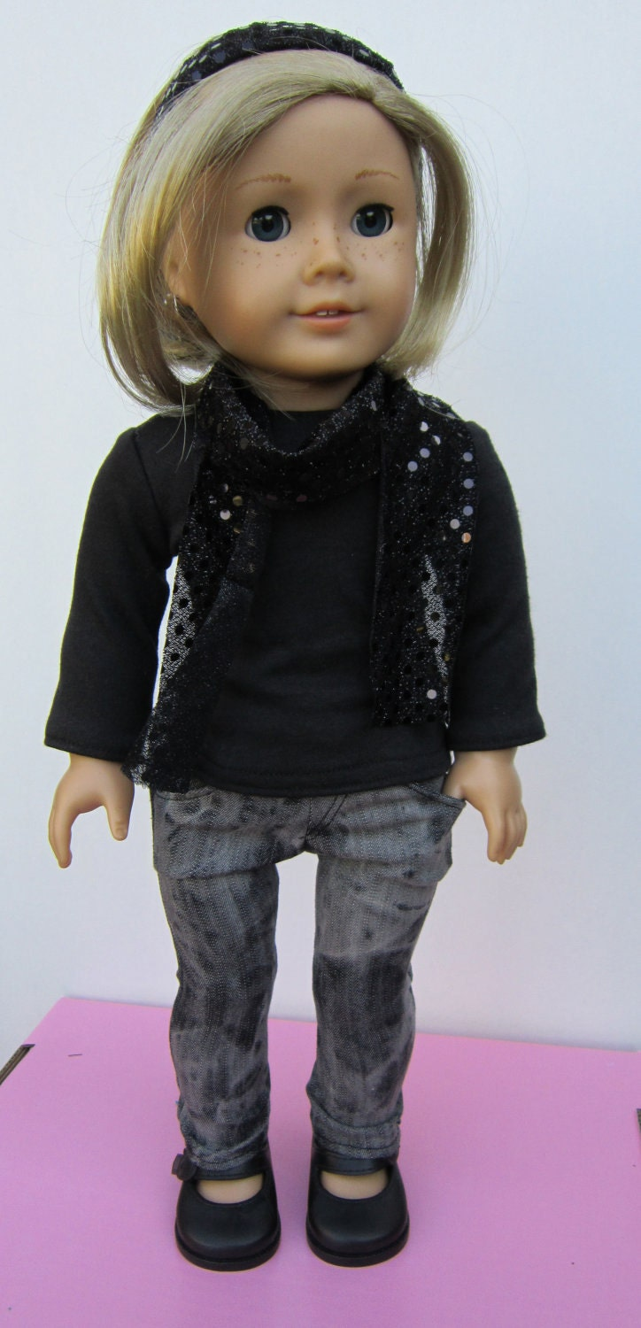 American Girl Doll Clothes Long Sleeve Tee with Cowel Neck Top and Skinny Jeans