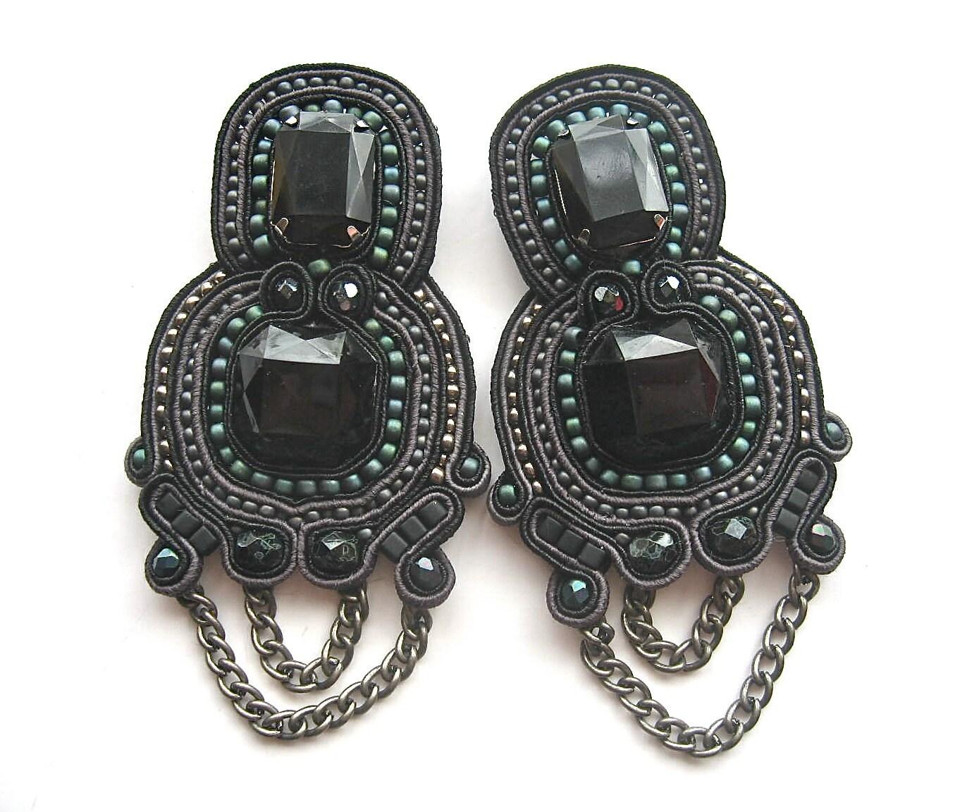 DARK KNIGHT  soutache earrings in black, gunmetal and iris teal - BlackMarketJewels