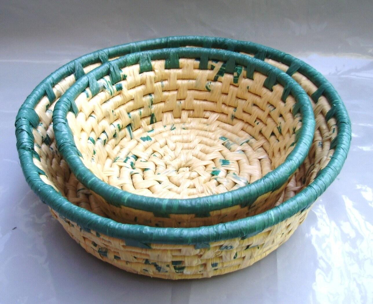 Вторичное полиэтиленовый пакет вложения корзины - зеленые и коричневые