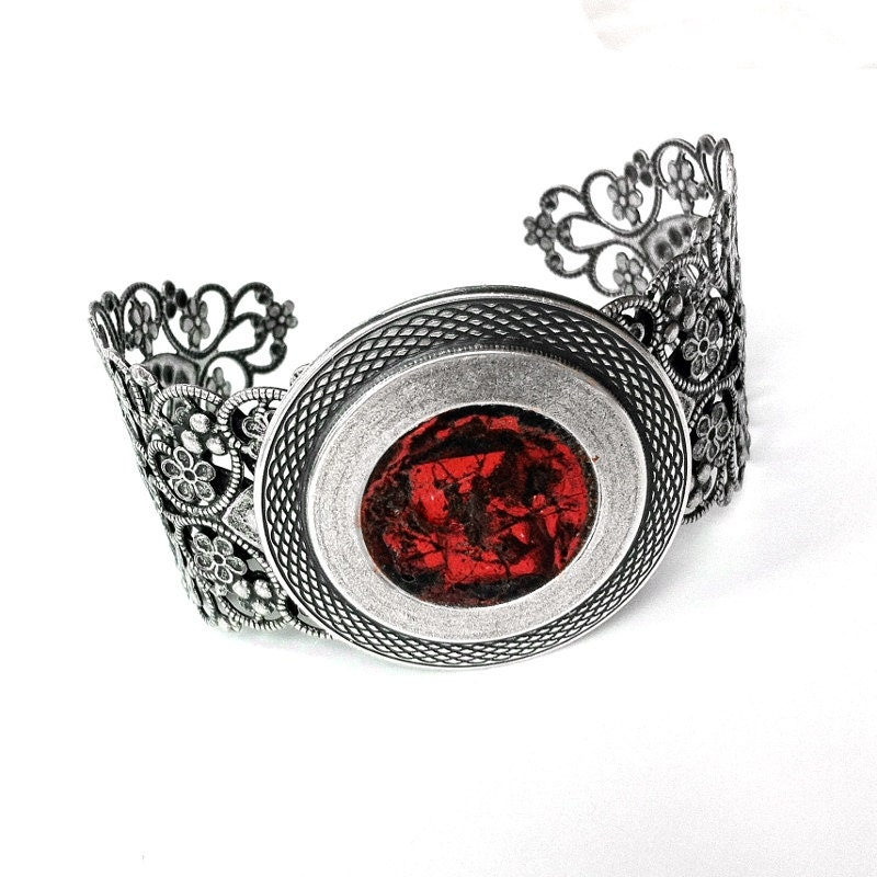 Filigree Bracelet, Orange Cuff Bracelet, Silver Cuff Bracelet, Mens Bracelet, Unisex Bracelet, Orange Jewelry