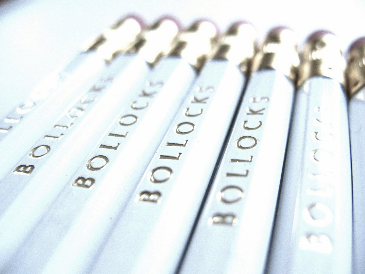 PENCILS (6) bollocks - white - graphite hex pencils w/ hand stamped pencil box
