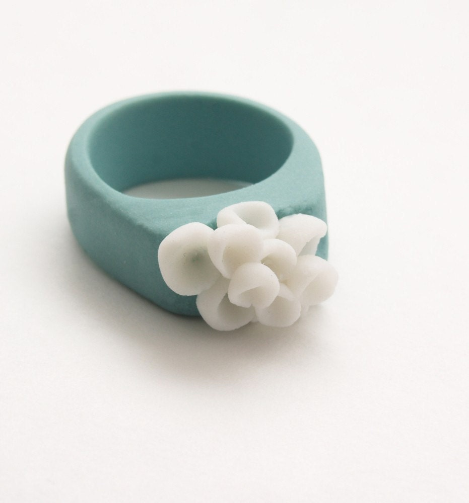 Porcelain Jewelry, Los Cabos Porcelain Ring ,Turquoise and white Color,Custom Ring - MaaPstudio