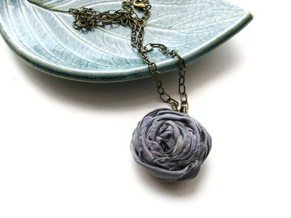 Single Silk Rosette Necklace in Iris Grey and Antique Brass Chain, Shabby Chic - Romantic Rosette - heversonart
