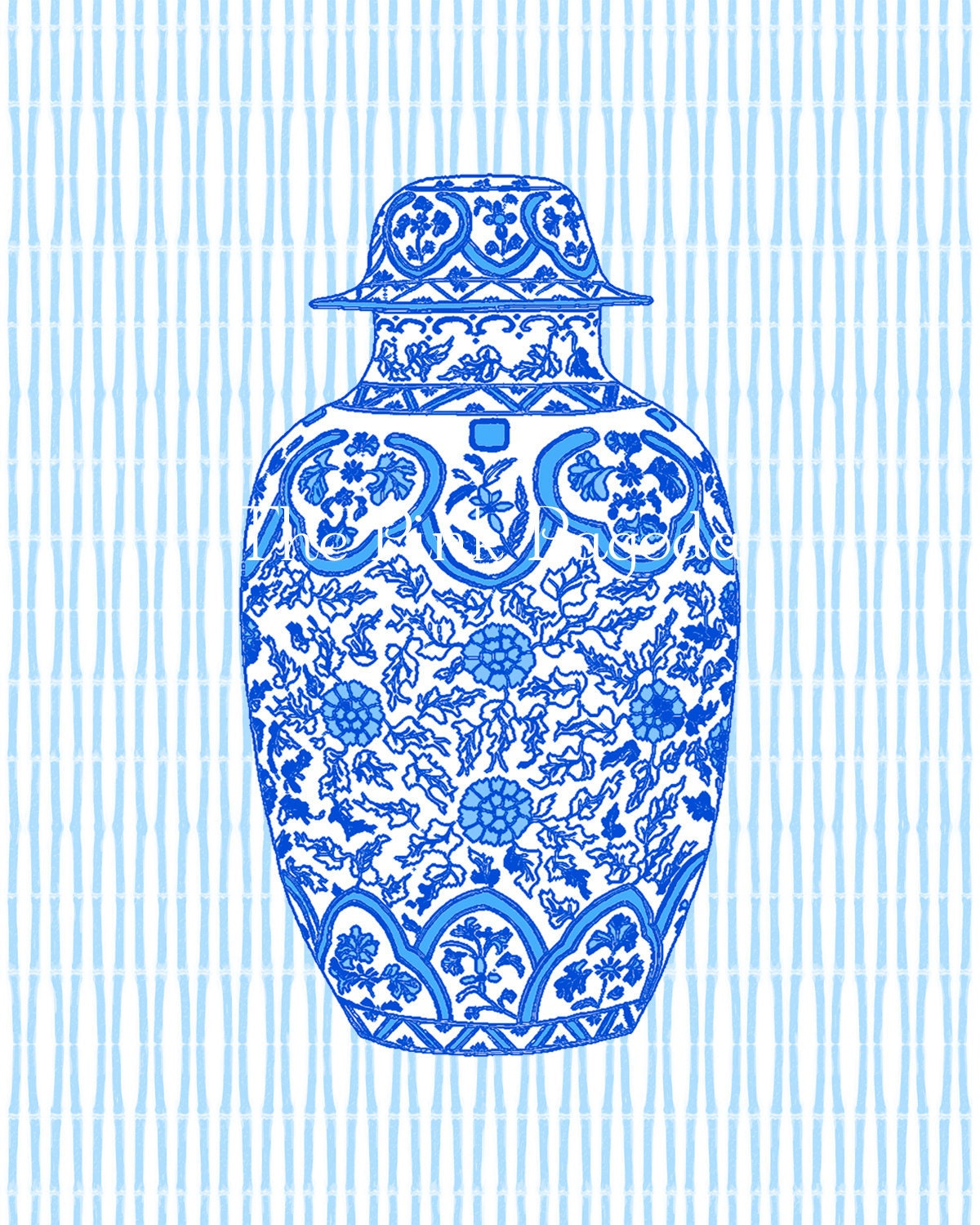 Ming Blue Chinoiserie Ginger Jar 8x10 Giclee - thepinkpagoda