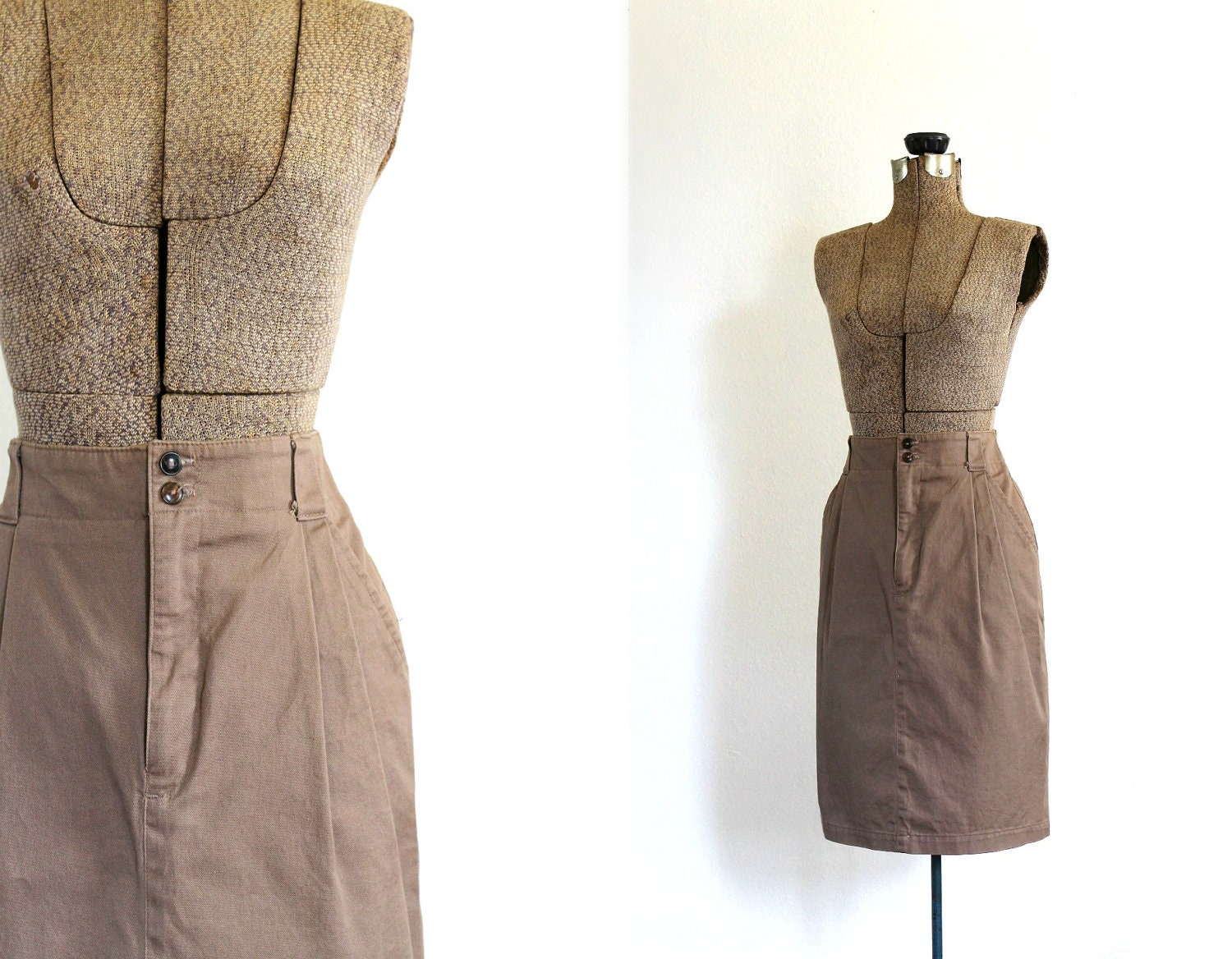 vintage pencil skirt 1980s light brown taupe cotton pencil skirt with pockets / soft fawn - fanciness