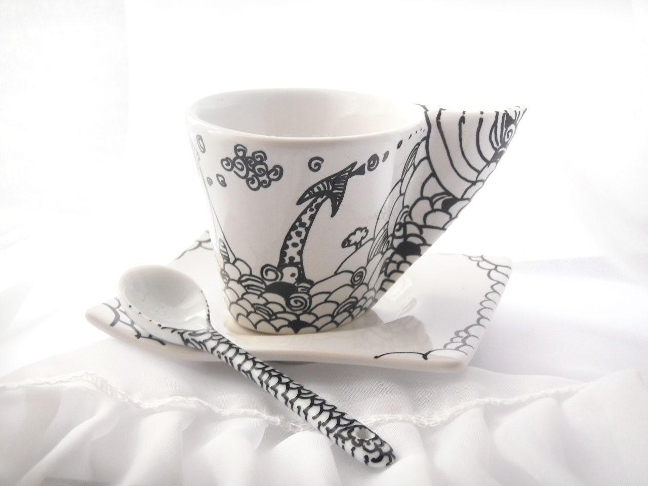 Hand painted Espresso coffee cup asymmetric with illustration of Cute Santa home, Santa's village espresso cup