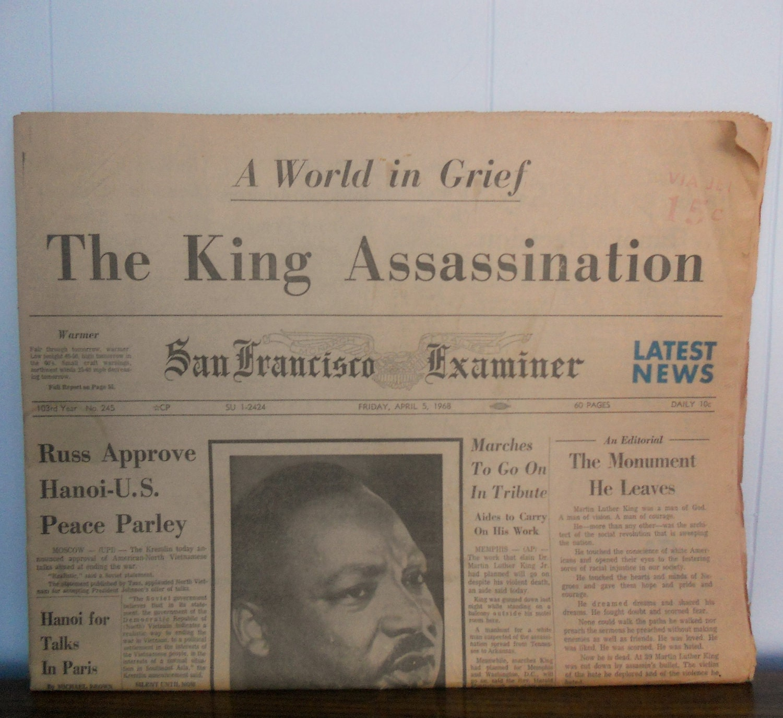 Vintage Newspaper - Martin Luther King Assassination - San Francisco Examiner April 5, 1968