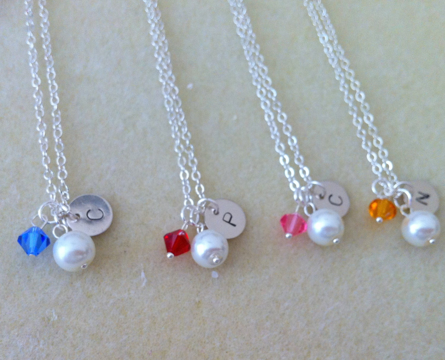 4 Bridesmaid necklace gifts, set of 4 necklaces, personalized, custom initials, pearl, birthstone, holiday, flowergirl, junior bride