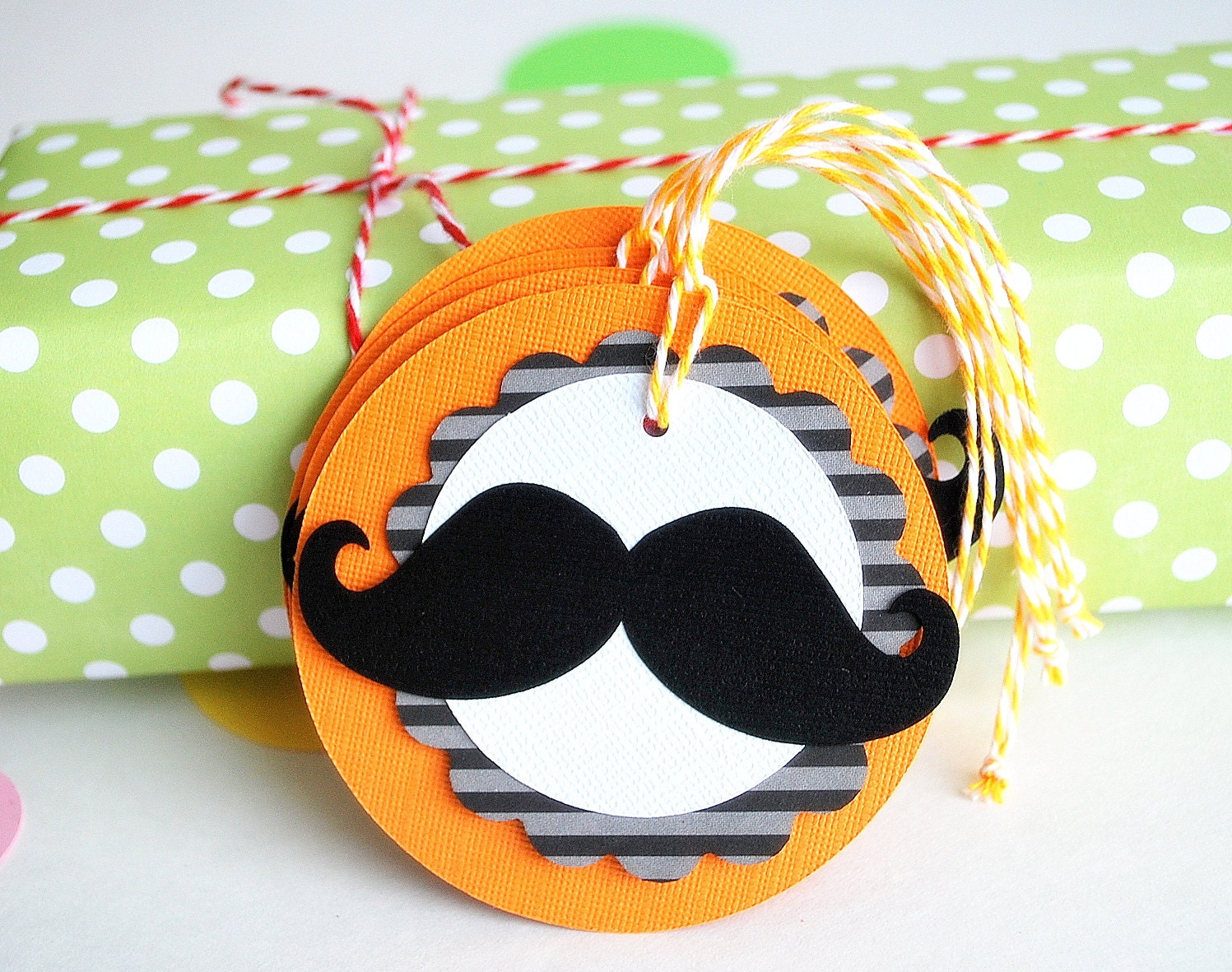ON SALE 4 Mustache tags, Orange Grey Black Stripped Cardstock tags 3.0 INCHES A668