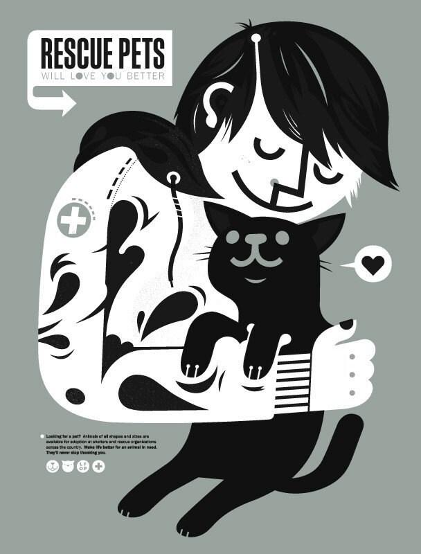 Rescue Pets Will Love You Better silkscreen poster