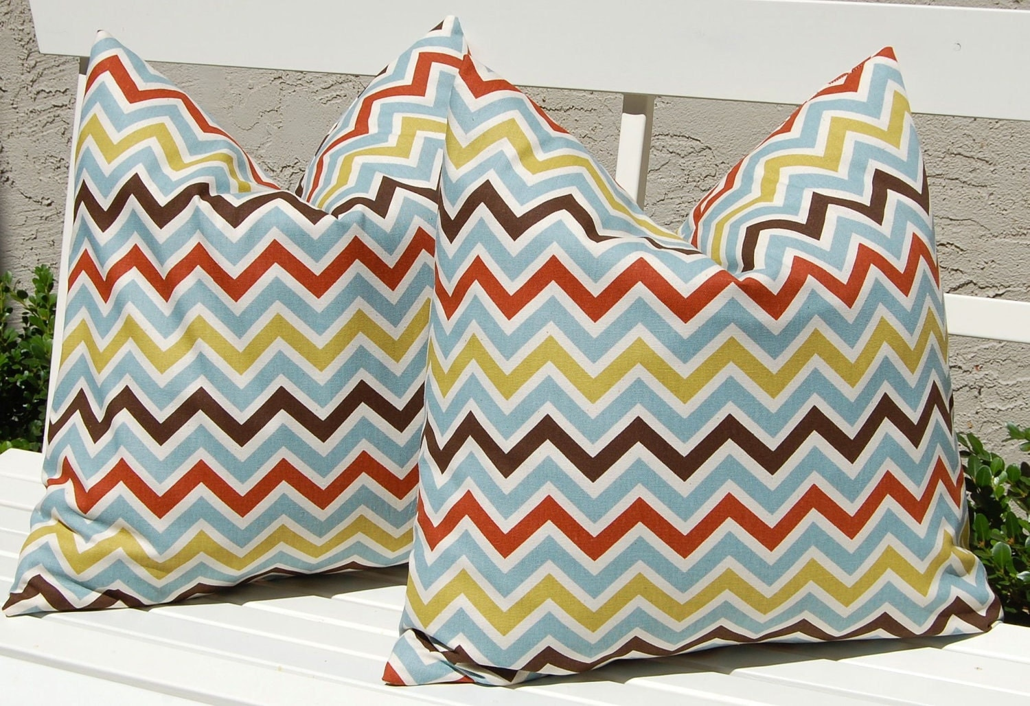 Decorative Pillows Chevron Throw Pillow Covers Missoni Style 20 x 20 Inches - Brown, Rust, Blue and Olive Green on Natural Zig Zag Chevron