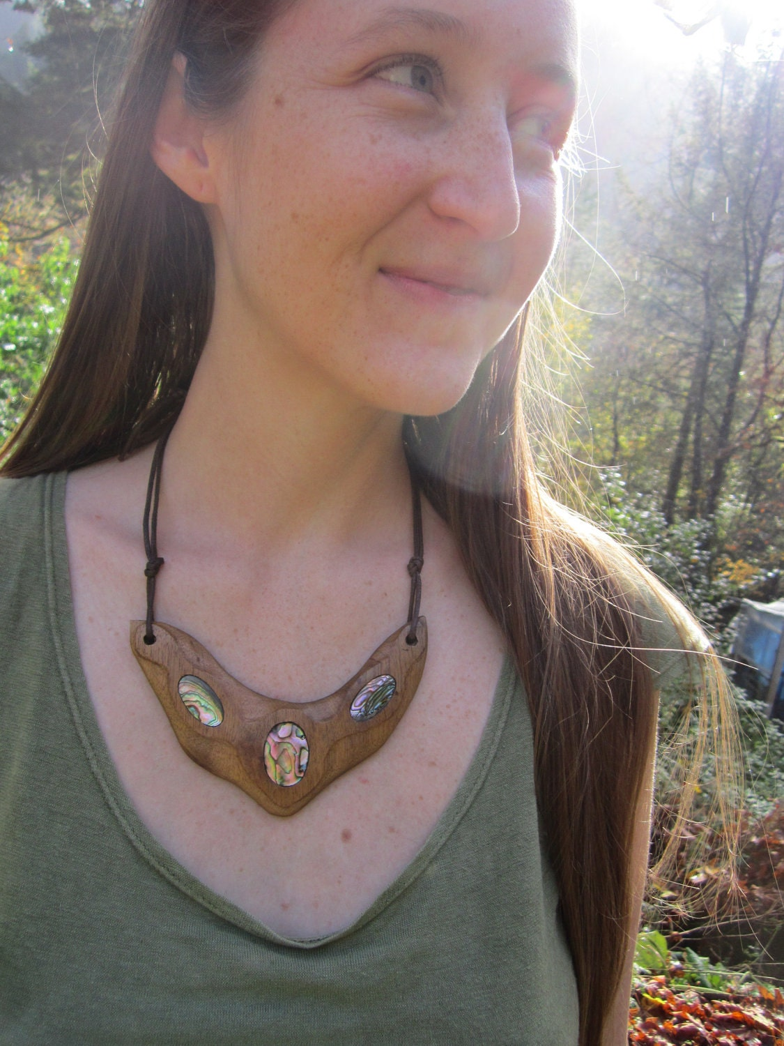 SALE- Wooden Abalone Necklace- Connection- Hand carved Myrtle wood with Abalone Shell