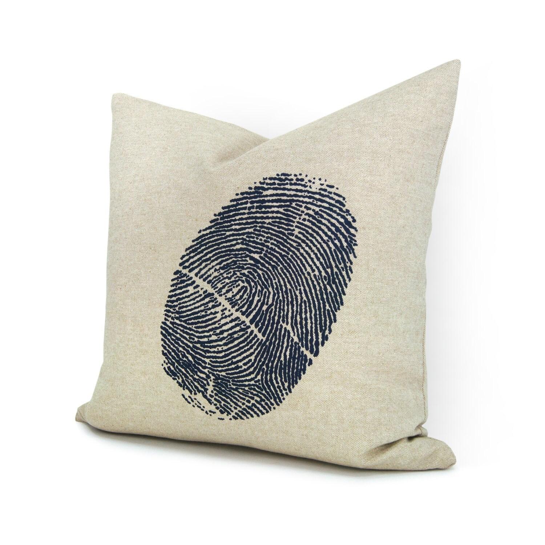 Fingerprint pillow case - Navy blue fingerprint image on natural beige cotton canvas throw pillow cover - 16x16 decorative pillow cover - ClassicByNature