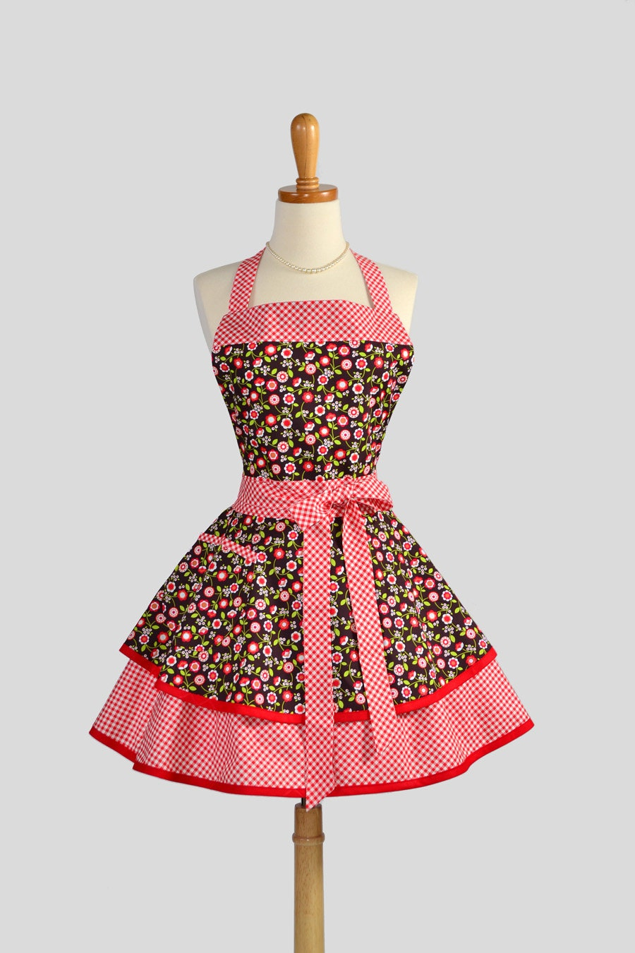 Ruffled Retro Apron - Cute Womens Apron in Country Fall Floral with Flirty Gingham Handmade Full Kitchen Apron